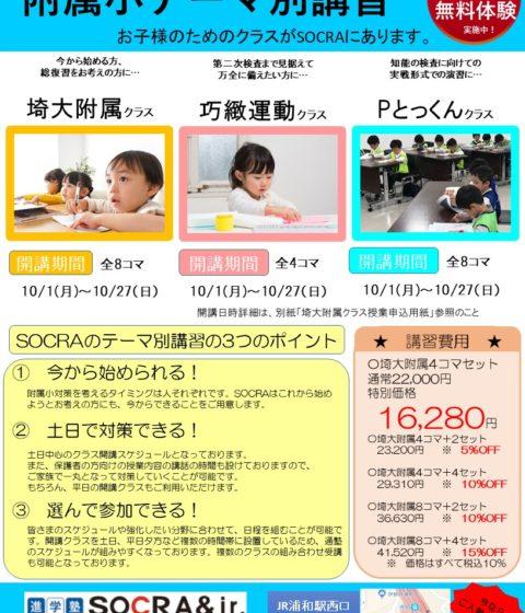 【埼大附属小対応】テーマ別クラス10月から開講します!