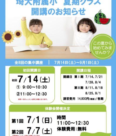 埼大附属小夏期クラス開講します!